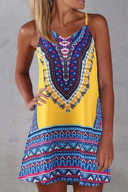 Sleeveless Tribal Print Spaghetti Strap Casual Wear Dress
