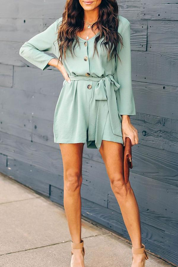 Long Sleeve Solid Color V Neck Single Breasted Romper