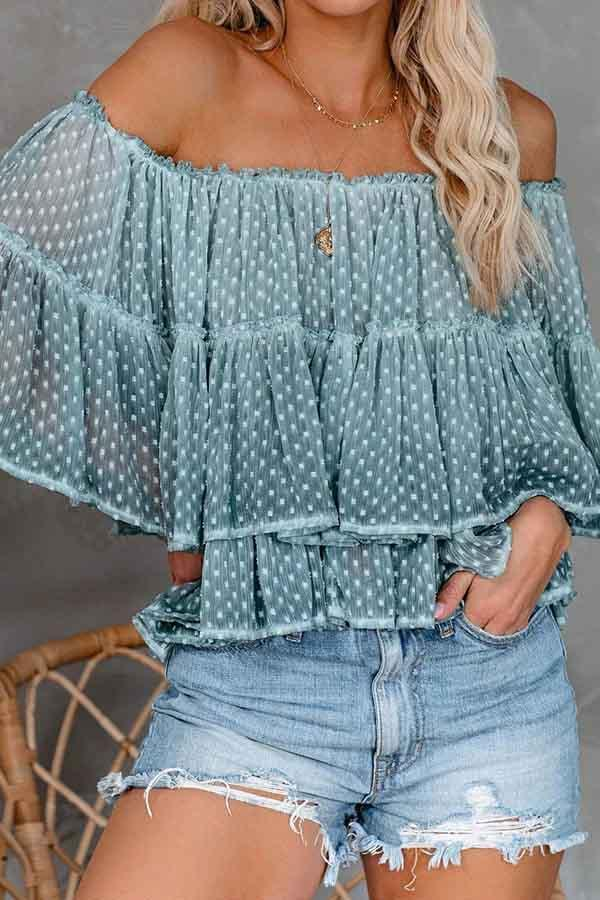 Polka Dot Off Shoulder Casual Wear Blouse