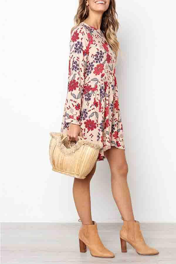 Floral Print Round Neck Pleated Dress
