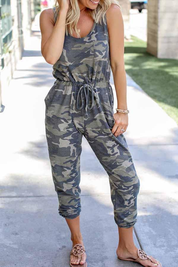 Sleeveless Camouflage U collar Casual Wear Jumpsuit