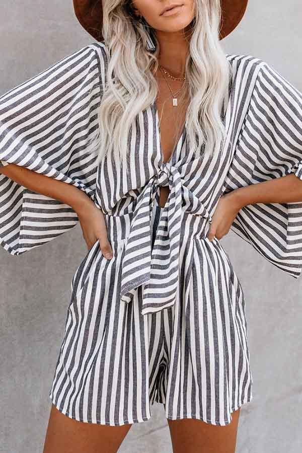 3/4 Length Sleeve Striped V Neck Casual Wear Romper