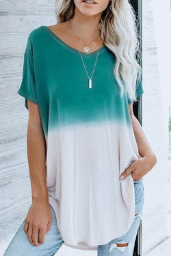 Short Sleeve Gradient V Neck Casual Wear T-Shirt