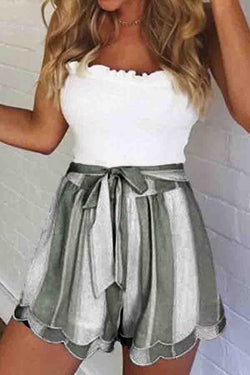 High Waist Striped Baggy Flared Shorts