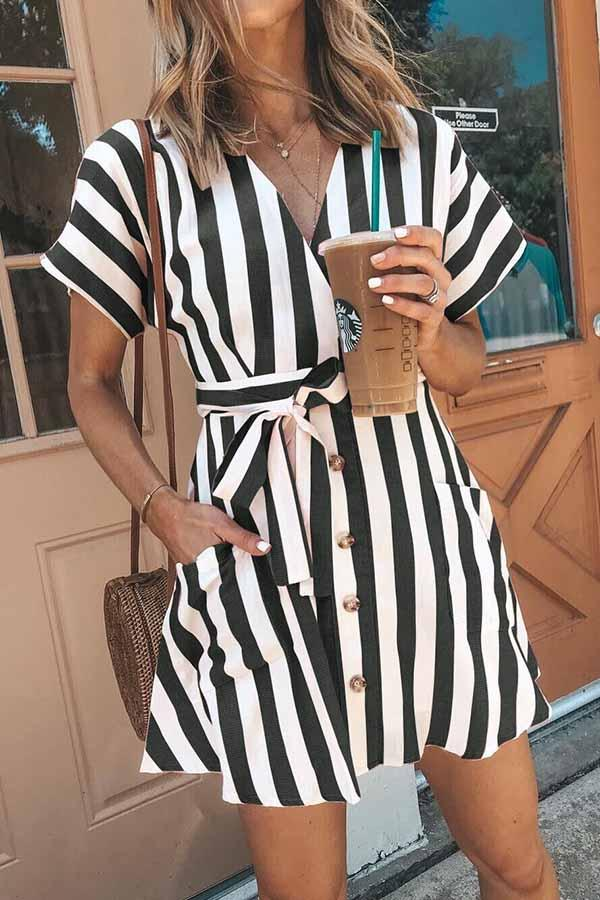 Short Sleeve Striped V Neck Single Breasted Dress