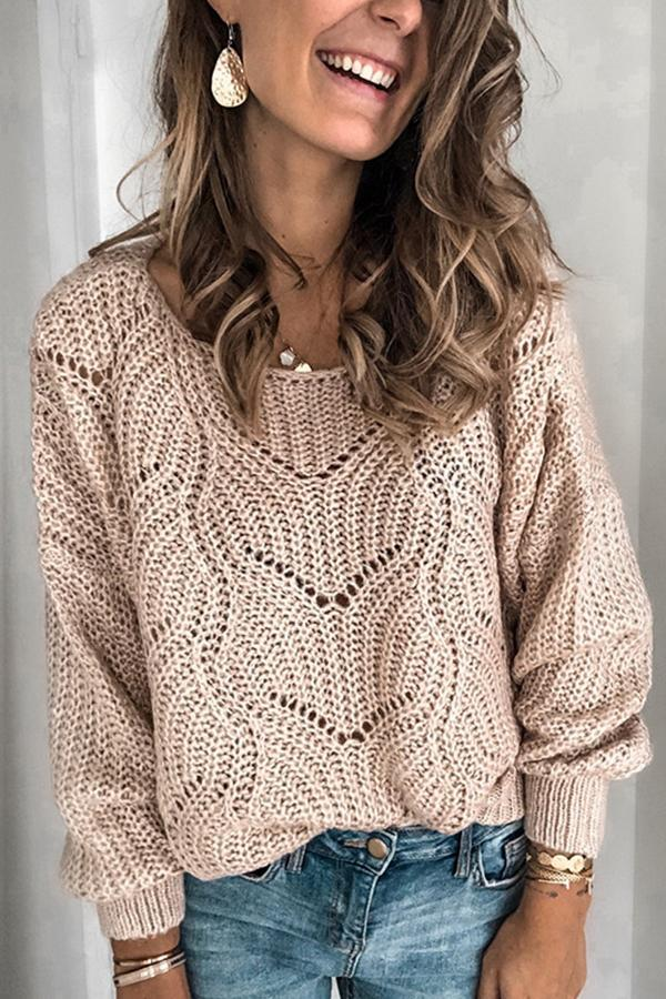 Round Collar Hollow Knit Sweater