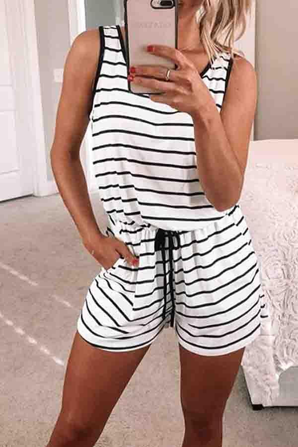 Striped Round Neck Casual Wear Romper