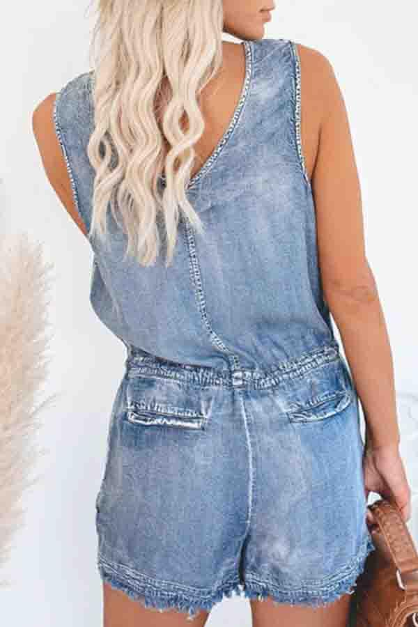Blue V Neck Casual Wear Romper