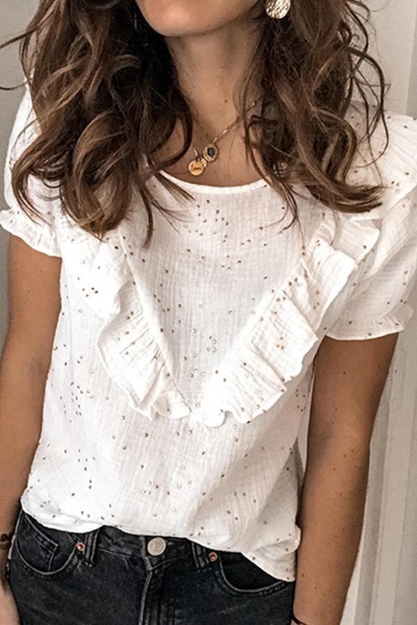 Short Sleeve Floral Lace Round Neck Casual Wear T-Shirt
