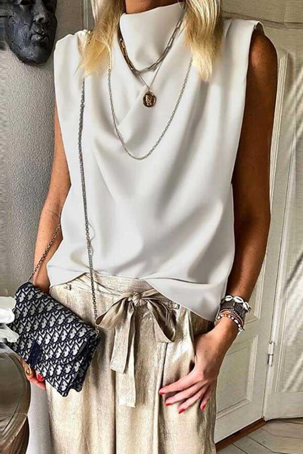Sleeveless Solid Color High Neck Casual Wear Top