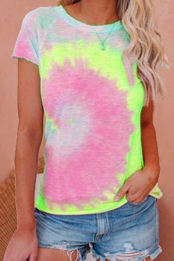Short Sleeve Tie Dye Round Collar Casual Wear T-Shirt