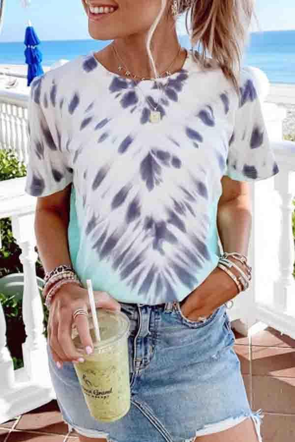 Tie Dye Round Neck Casual Wear T-Shirt