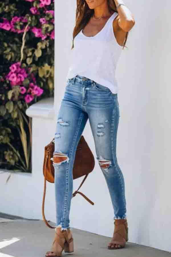 Solid Color Slim Fit Hole Jeans