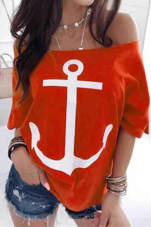 Batwing Sleeve Graphic Print Off Shoulder Casual Wear T-Shirt