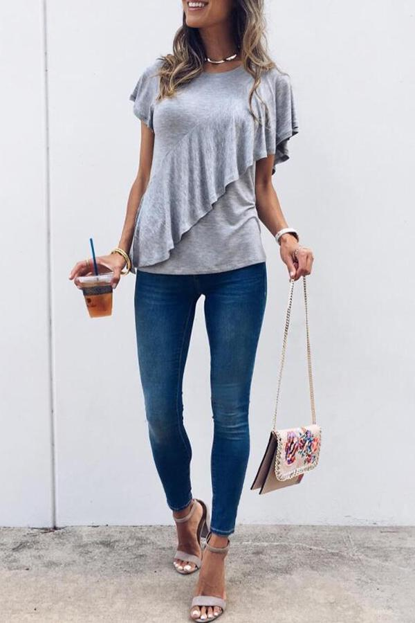 Short Sleeve Solid Color Round Collar Casual Wear T-Shirt