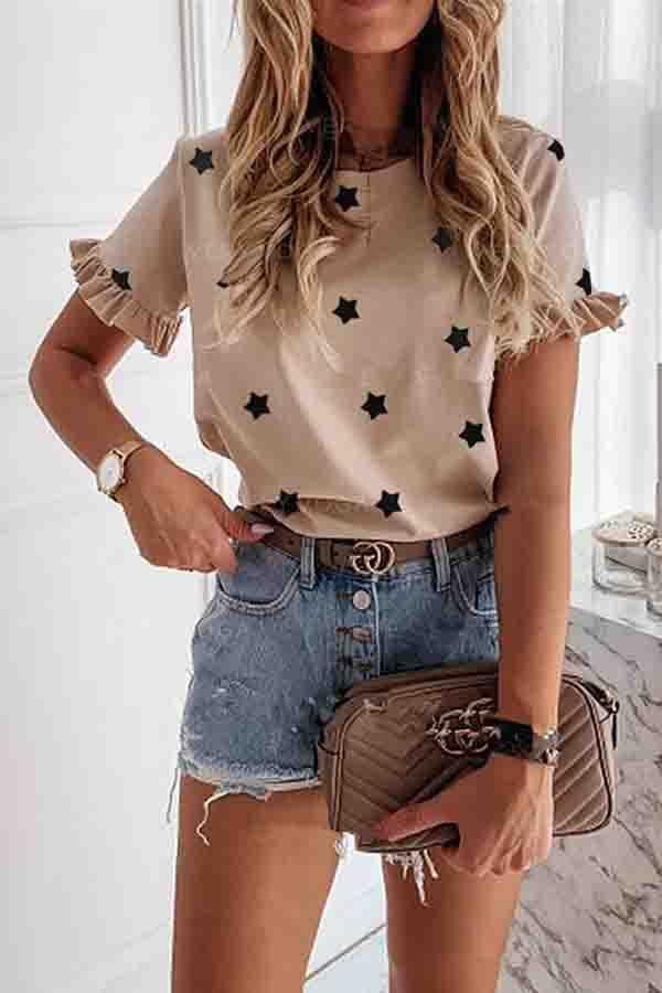 Star Round Neck Casual Wear T-Shirt