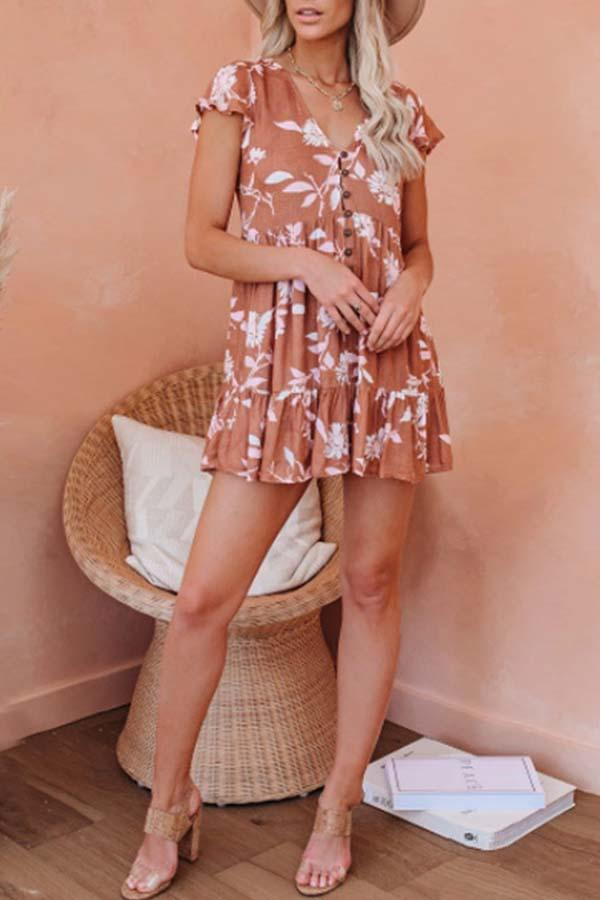 Short Sleeve Leaf Print V Neck Single Breasted Dress