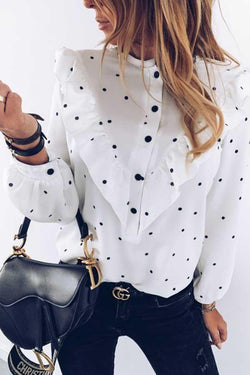 Long Sleeve Polka Dot Round Collar Blouse