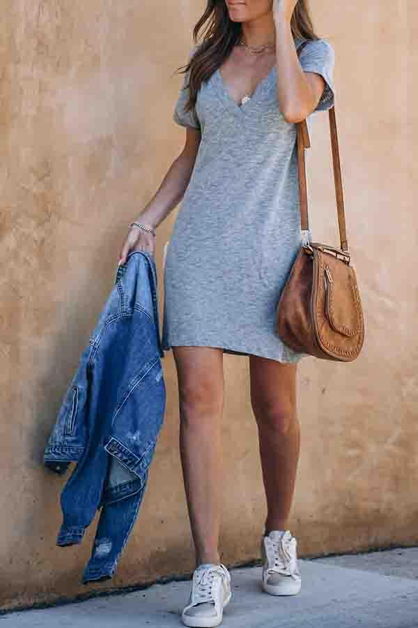 Gray V Neck Casual Wear Dress