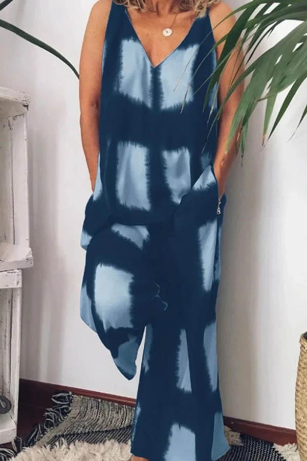 Geometric Print V Neck Casual Wear Jumpsuit