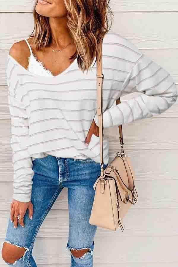 Long Sleeve Striped One Shoulder Casual Wear Shirt