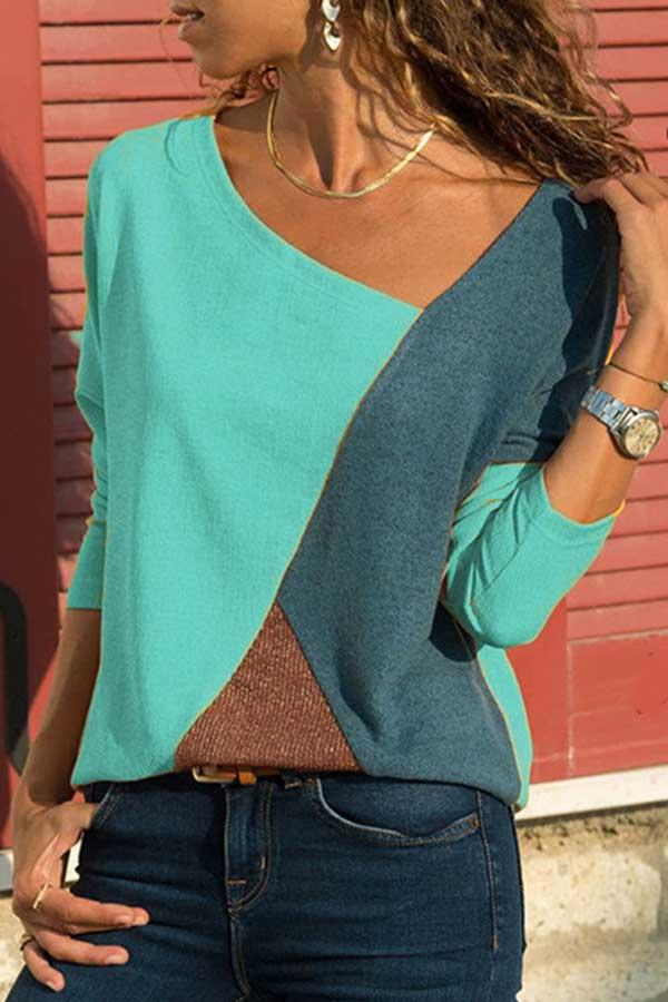 Long Sleeve Color Block Round Collar Casual Wear T-Shirt