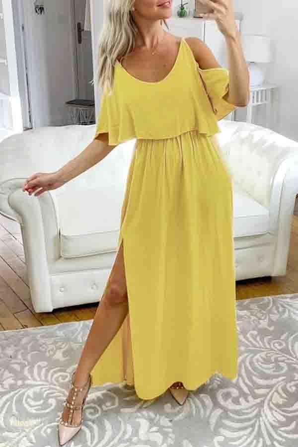 Flounce Sleeve Solid Color Spaghetti Strap Fork opening Dress