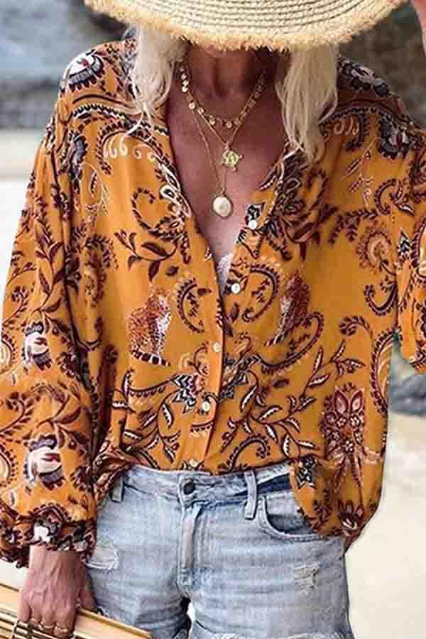 Bracelet Sleeve Natural Print V Neck Leisurewear Blouse