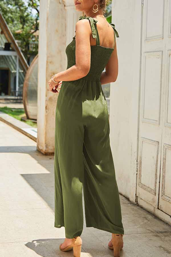 Sleeveless Solid Color Spaghetti Strap Casual Jumpsuit