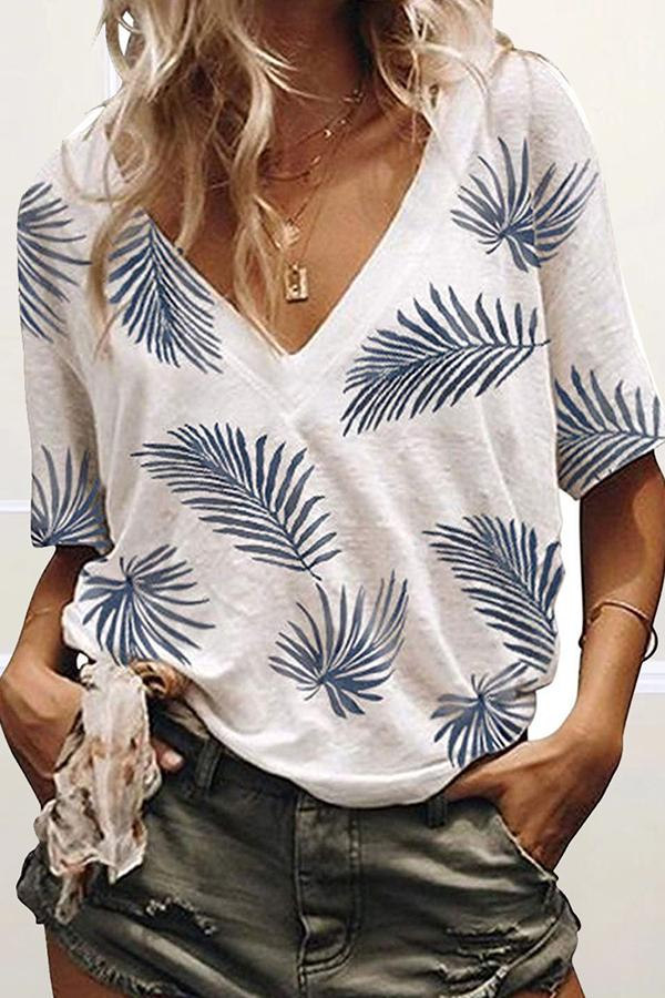 Short Sleeve Plant print V Neck Casual Wear T-Shirt