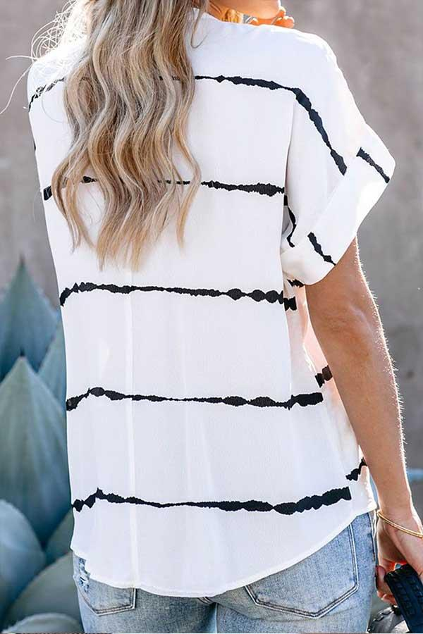 Short Sleeve Striped V Neck Casual Wear T-Shirt
