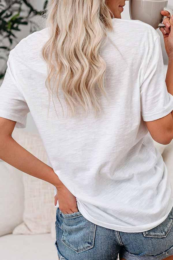 Letter print Round Neck Casual Wear T-Shirt