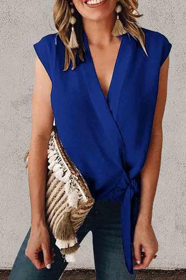 Sleeveless Solid Color V Neck Casual Wear Blouse