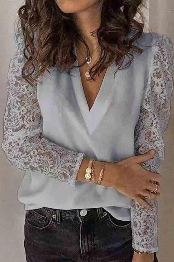 Lace Sleeve Patchwork V Neck Casual Wear Blouse