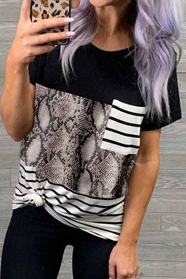 Short Sleeve Striped Round Collar Leisurewear T-Shirt