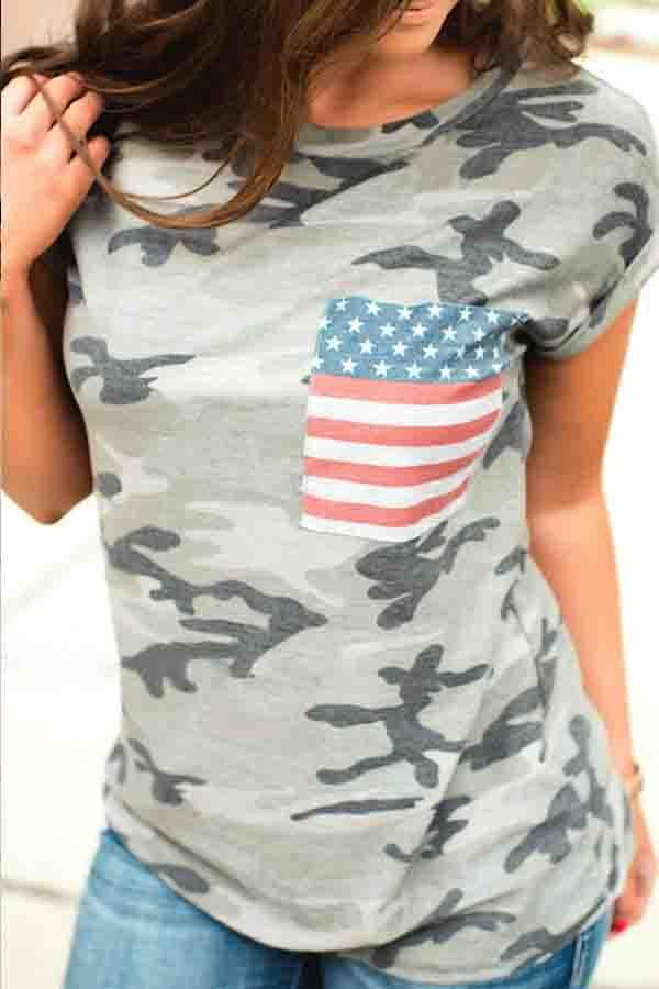 Camo Round Collar Casual Wear T-Shirt