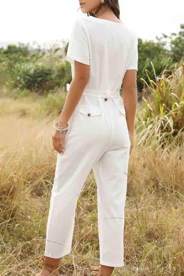 Short Sleeve Solid Color V Neck Casual Wear Jumpsuit