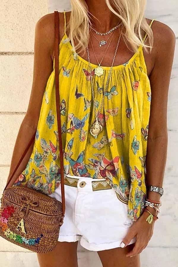 Sleeveless Butterfly Print Spaghetti Strap Leisurewear Vest
