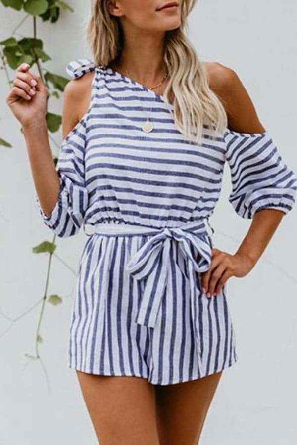Half Sleeve Striped One Shoulder Casual Wear Romper