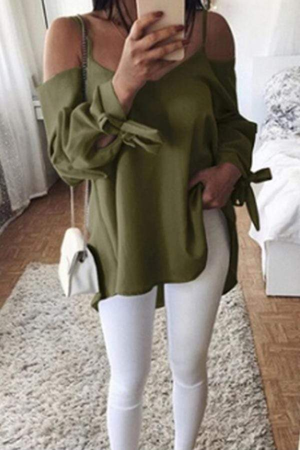 Long Sleeve Solid Color V Neck Casual Wear Blouse