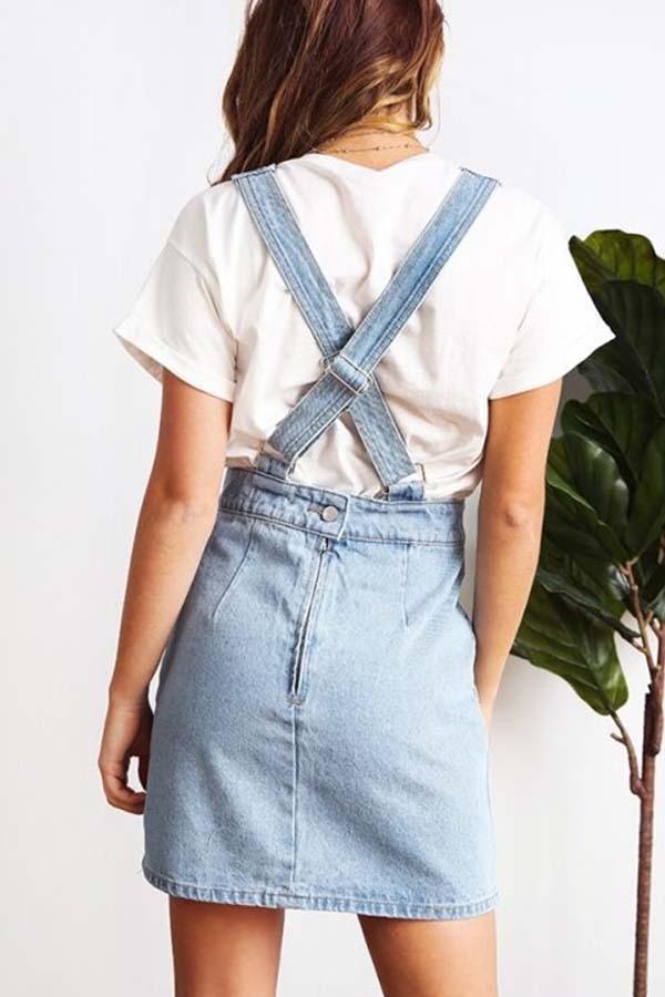 Sleeveless Denim Solid Color Spaghetti Strap Casual Wear Dress