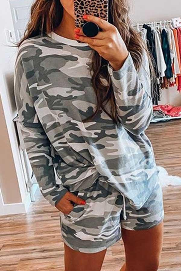 Camouflage Round Neck Casual Wear Short Set