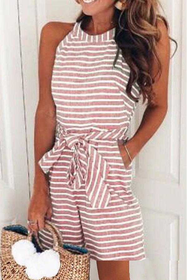 Sleeveless Striped Off Shoulder Casual Wear Romper