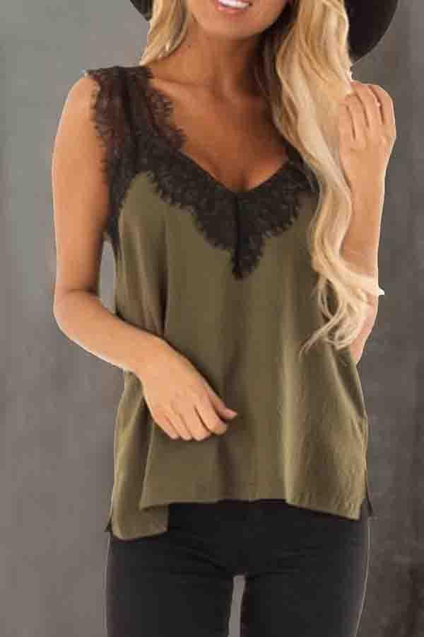 Sleeveless Solid Color V Neck Vest