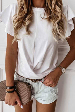 Flounce Sleeve Solid Color Round Collar Casual Wear T-Shirt