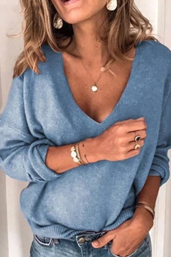 Long Sleeve Solid Color V Neck Casual Wear Sweater