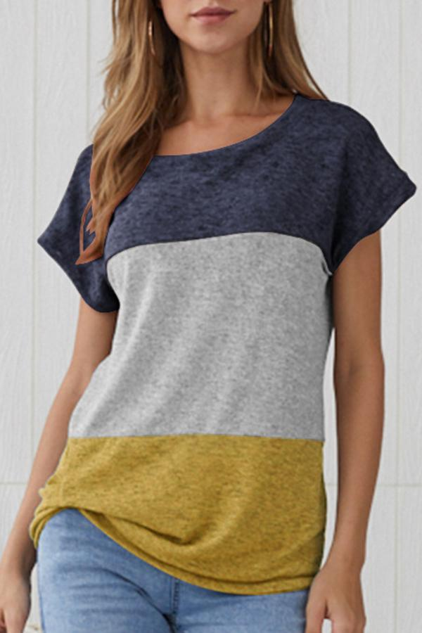 Short Sleeve Patchwork Round Neck Casual Wear T-Shirt