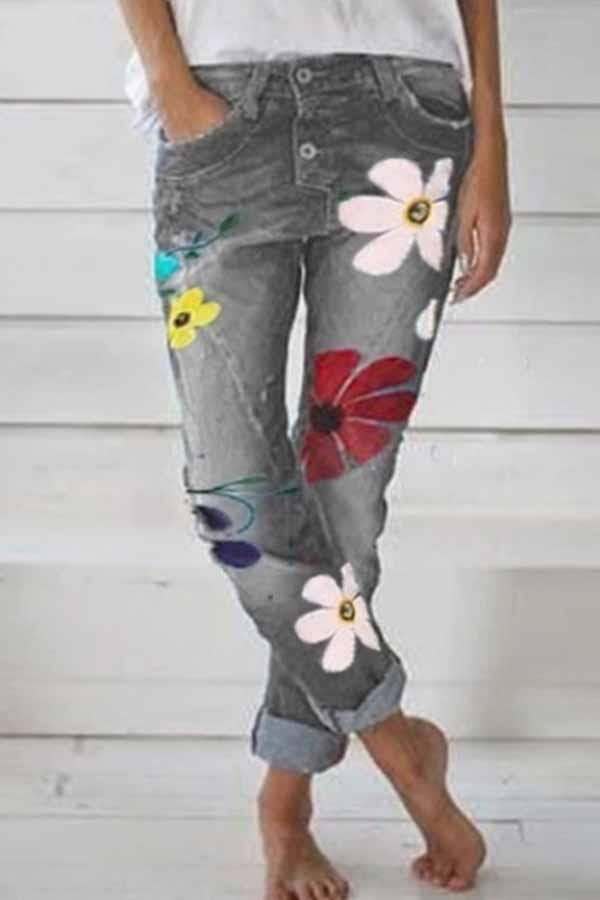 Regular Waist Flower Print Regular Fit Casual Wear Jeans