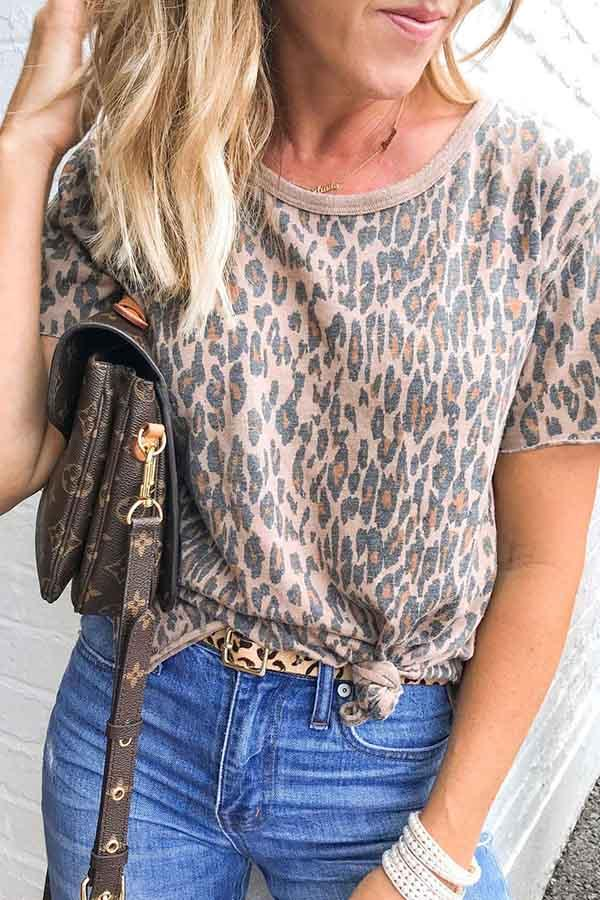 Short Sleeve Natural Print Round Neck Casual Wear T-Shirt