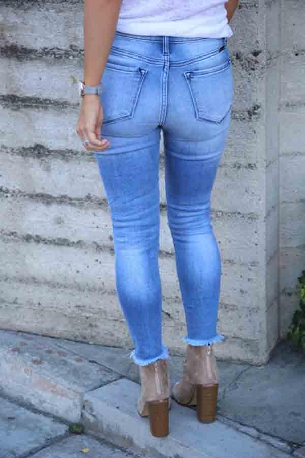 Regular Waist Blue Slim Fit Hole Jeans